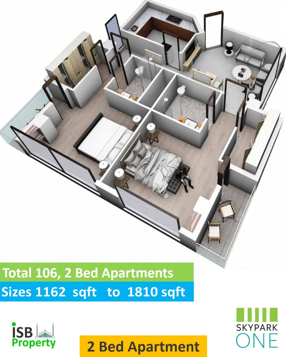 Two Bed Isometric