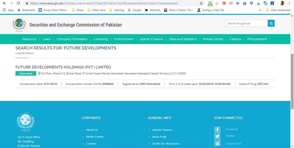 SECP for Future Developments Holdings pvt ltd-min