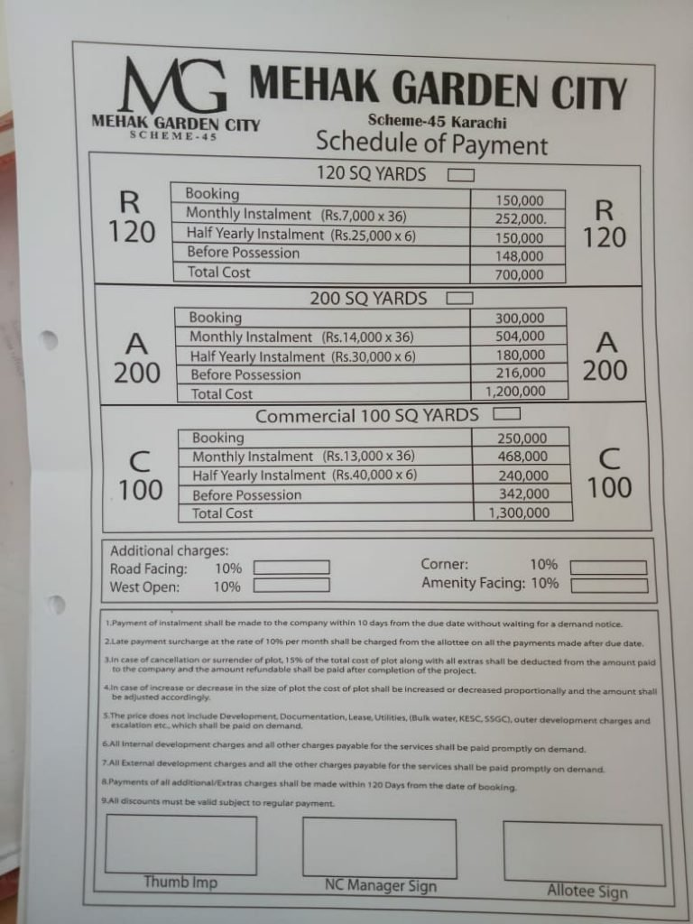 Mehak Garden Schedule of Payment-min