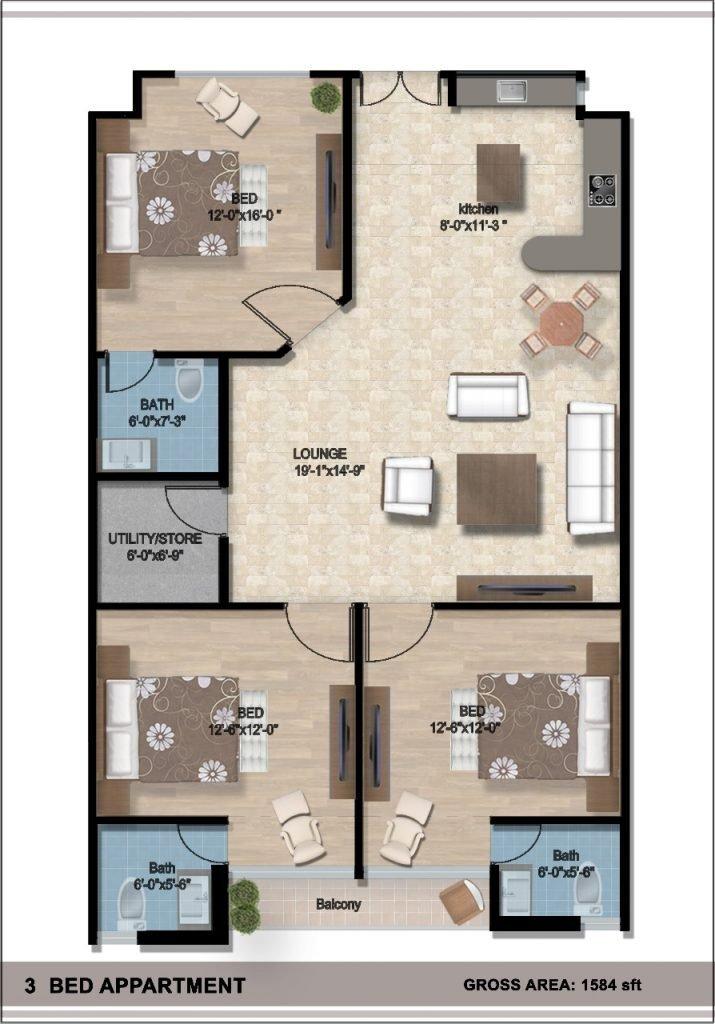 Lake-Vista-Bahria-Town-Phase-8-3-Bed