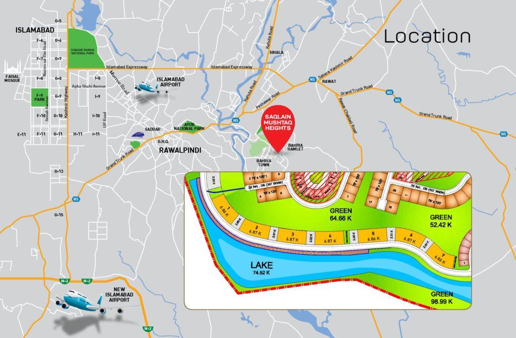 Saqlain Mushtaq Heights Location Plan