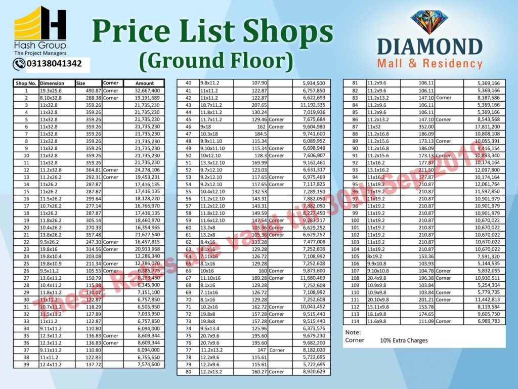 Diamond Mall Shops Ground Floor Payment Plan