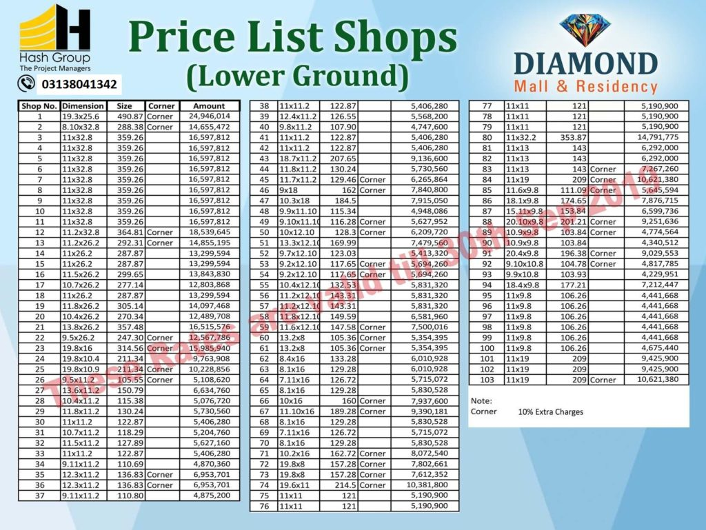 Diamond Mall Shops Lower Ground Floor Payment Plan