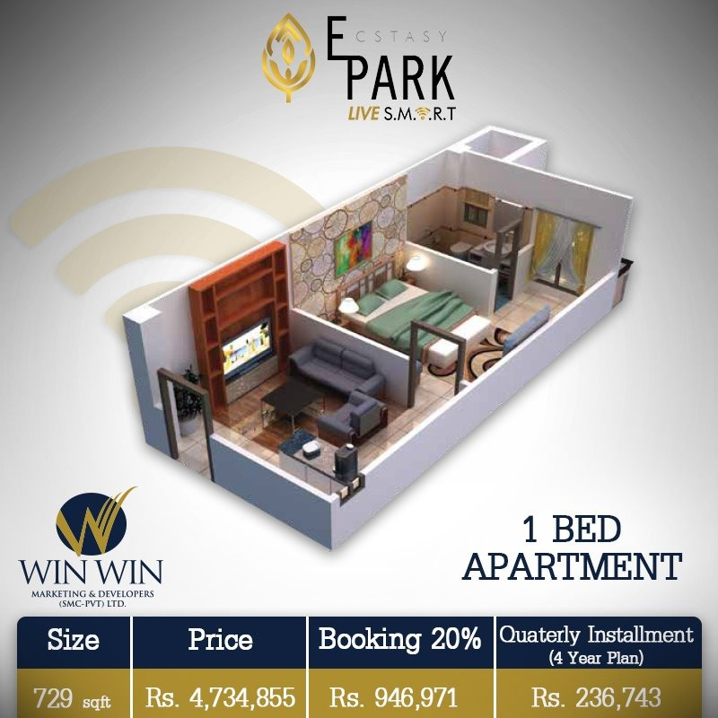 Ecstasy Park 1 Bed Apartment Layout Plan-1