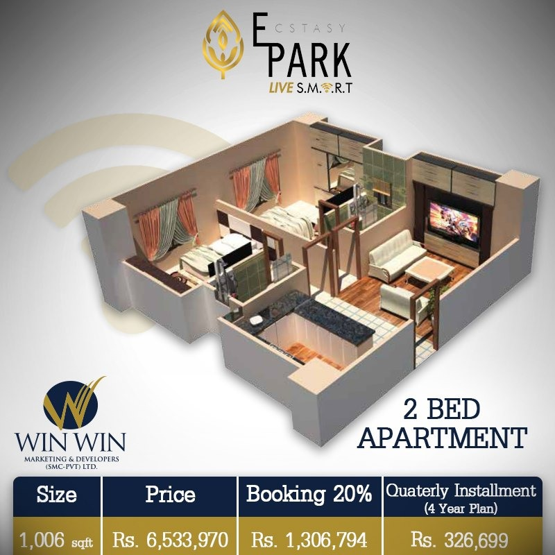 Ecstasy Park 2 Bed Apartment Layout Plan-4