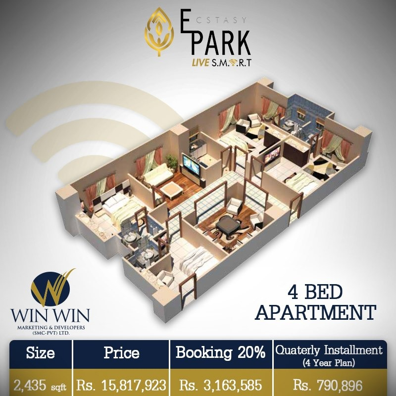 Ecstasy Park 4 Bed Apartment Layout Plan