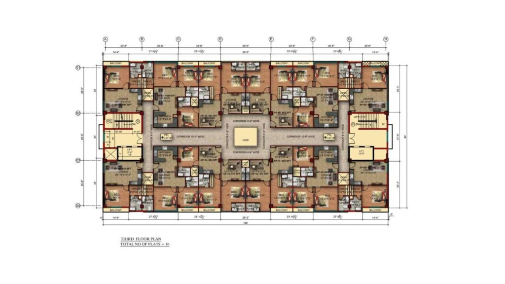 Gulberg Pride 3rd Floor Apartments Layout Plan