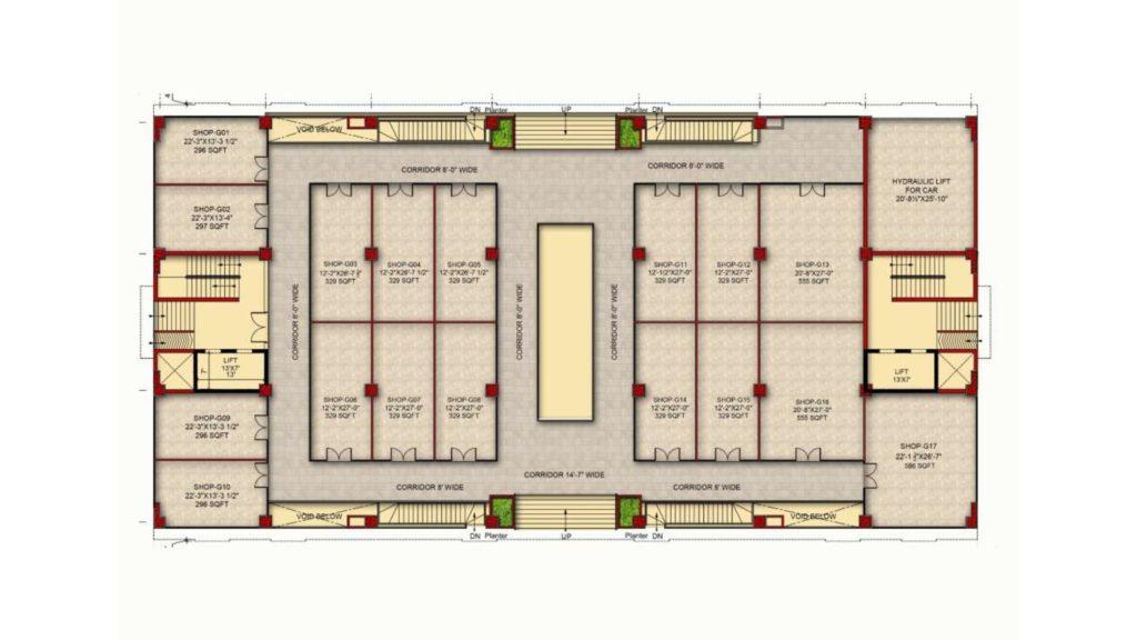 Gulberg Pride Ground Floor Layout Plan