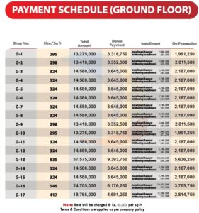 Gulberg Pride Ground Floor Shops Payment Plan