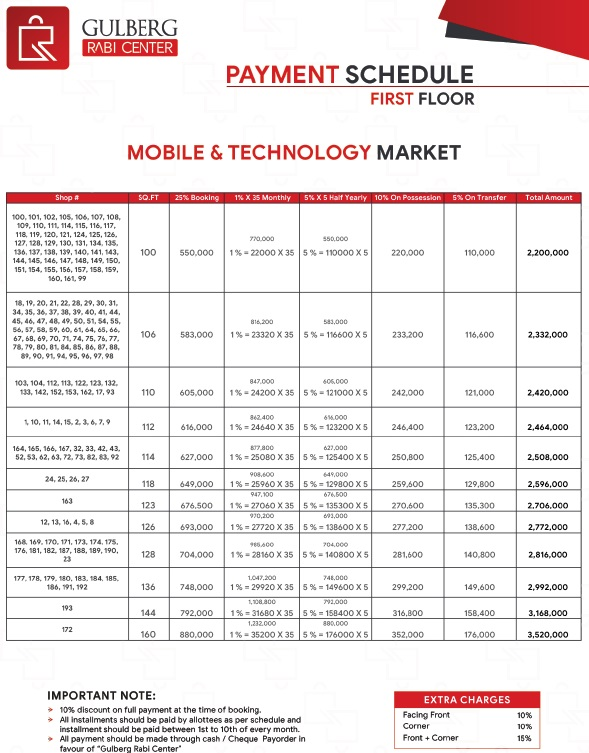 Gulberg Rabi Center First Floor Mobile Market Payment Plan