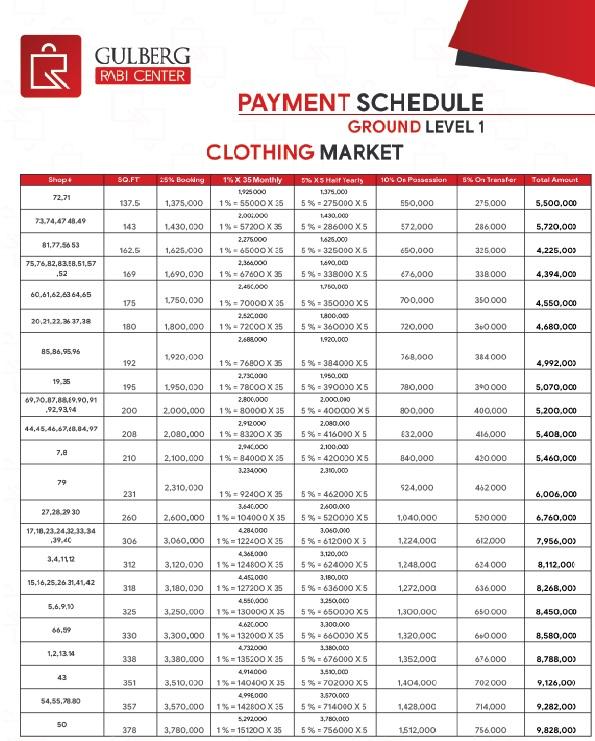 Gulberg Rabi Center Payment Schedule Ground Level-1