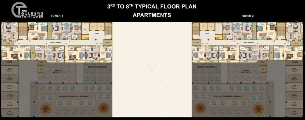 Gulberg Twin Tower 3rd to 8th Floor Apartments