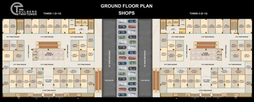 Gulberg Twin Tower Ground Floor Shops