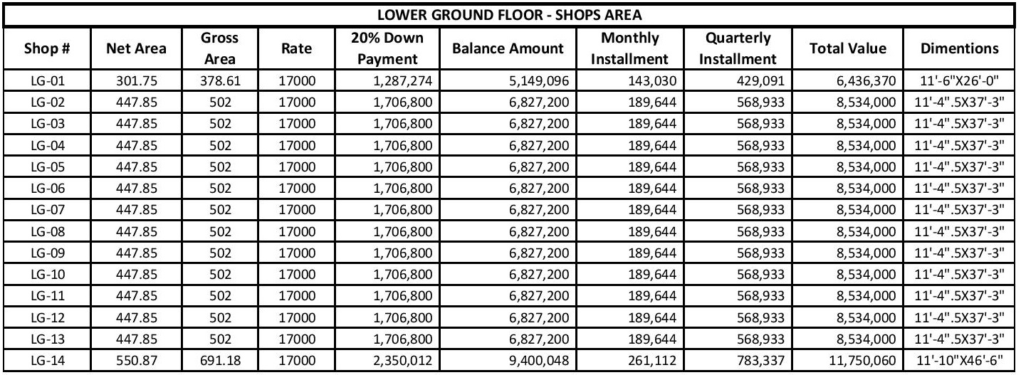 Liberty Tower Lower Ground Floor Payment Plan