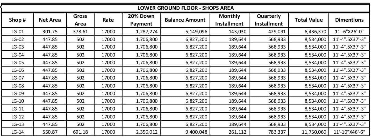Liberty Tower Lower Ground Shops Floor Payment Plan