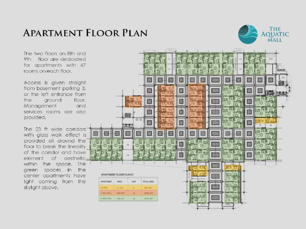Aquatic Mall 8th & 9th Floor Apartments Plan