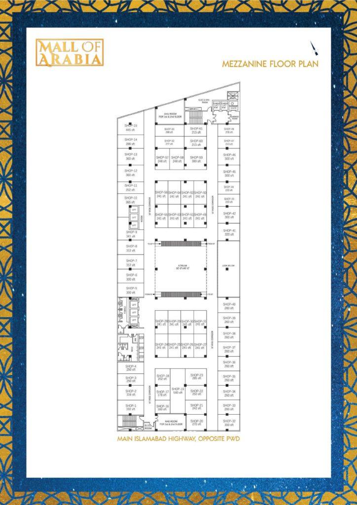 Mall of Arabia Mezzanine Floor Shops Plan