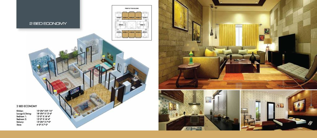 Time Square 2 Bed Economy Apartment Floor Plan