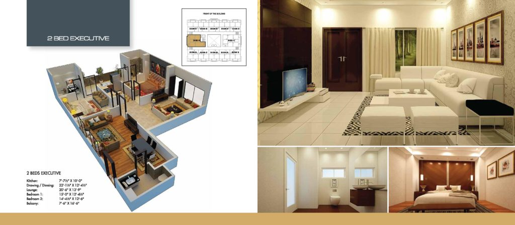 Time Square 2 Bed Executive Apartment Floor Plan
