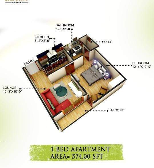 D8 Heights 1 Bed Apartment Lay Out Plan