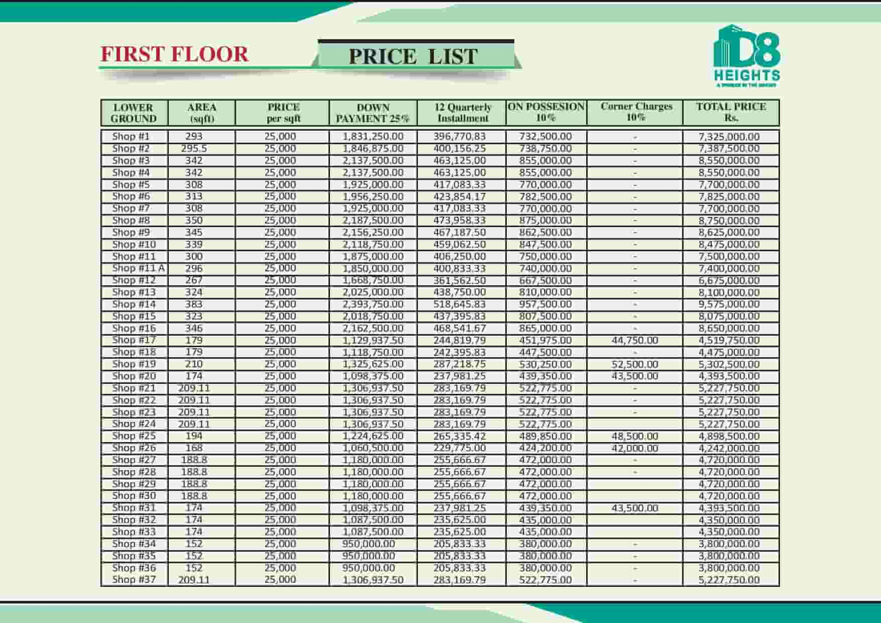 D8 Heights 1st Floor Payment Plan 1