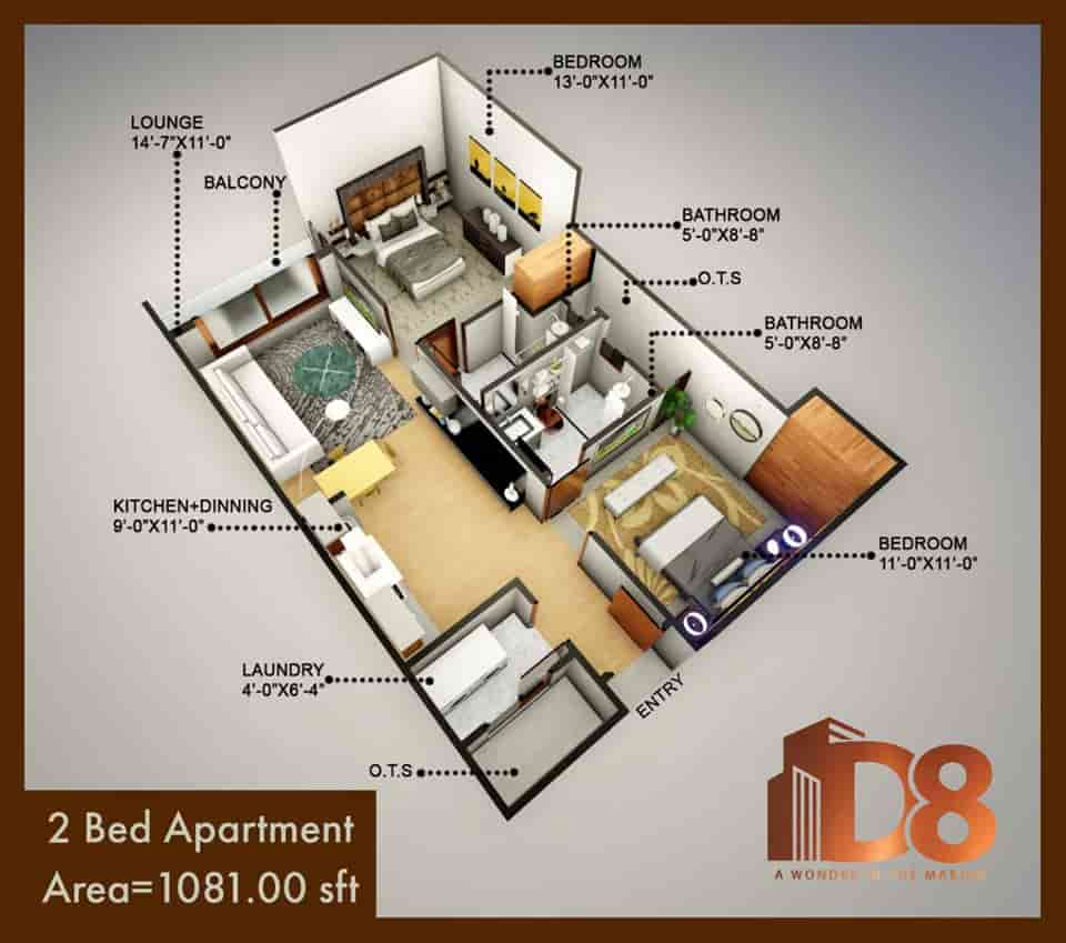 D8 Heights 2 Bed Apartment Layout Plan