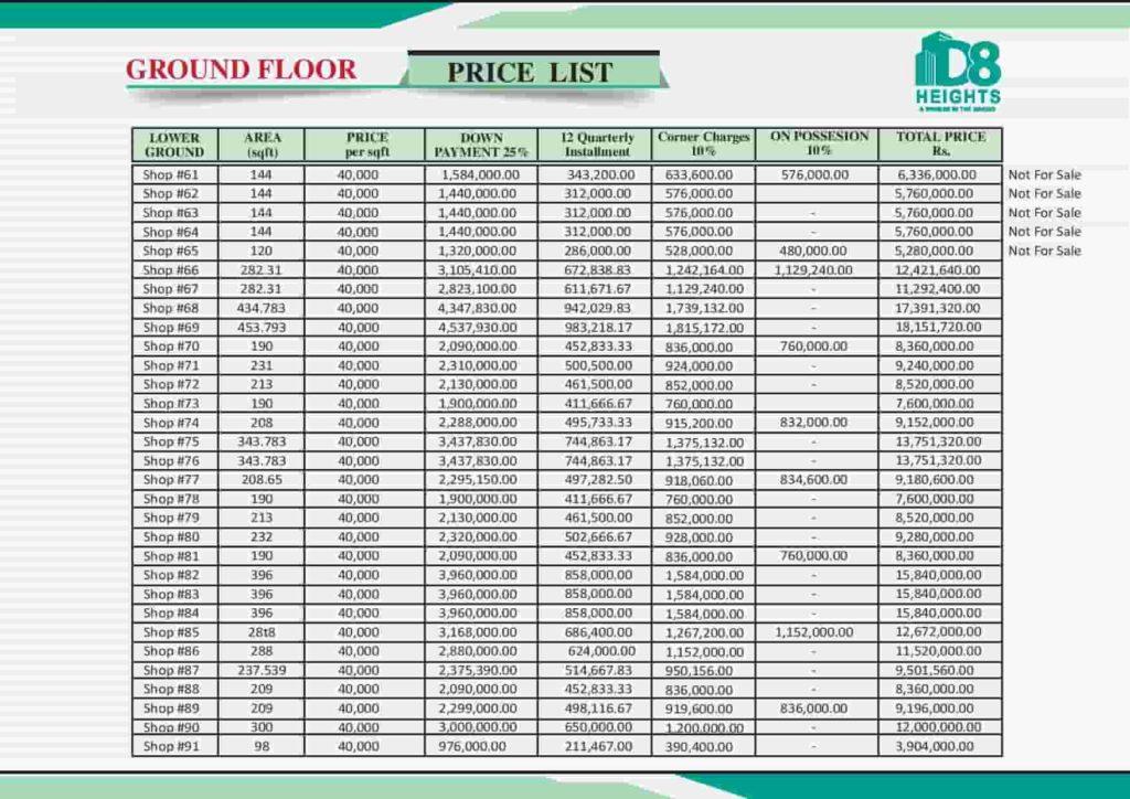D8 Heights Ground Floor Payment Plan 3