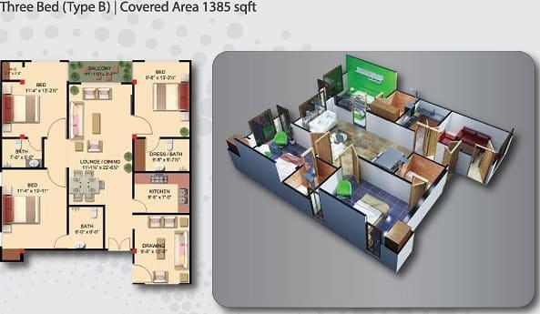 Gulberg Empire 3 Bed Apartment Type B