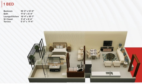 Zameen Ace Mall 1 Bed Apartment Layout
