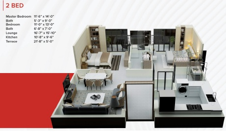 Zameen Ace Mall 2 Bed Apartment Layout