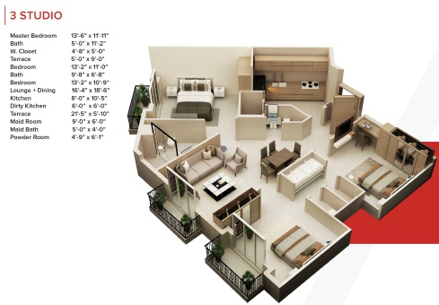 Zameen Ace Mall 3 Bed Apartment Layout