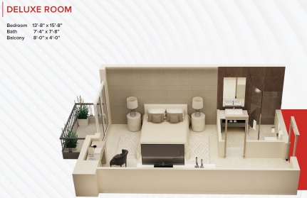 Zameen Ace Mall Deluxe Room Layout