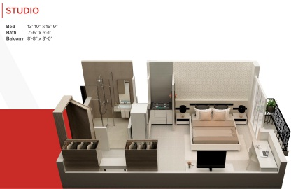 Zameen Ace Mall Studio Aprtment Layout