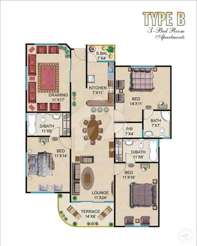 Burj ul Harmain 2 Bed B-2 Floor Plan