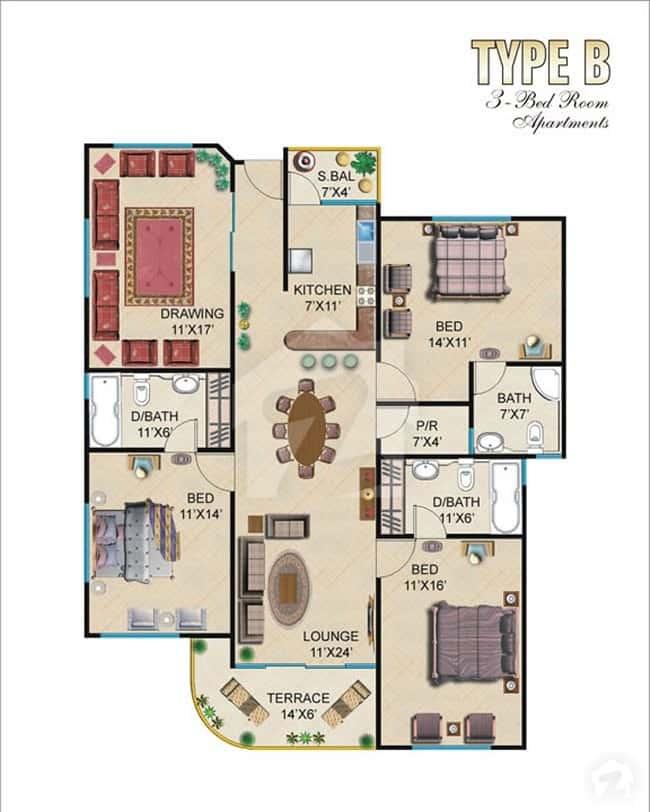 Burj ul Harmain 3 Bed B Floor Plan
