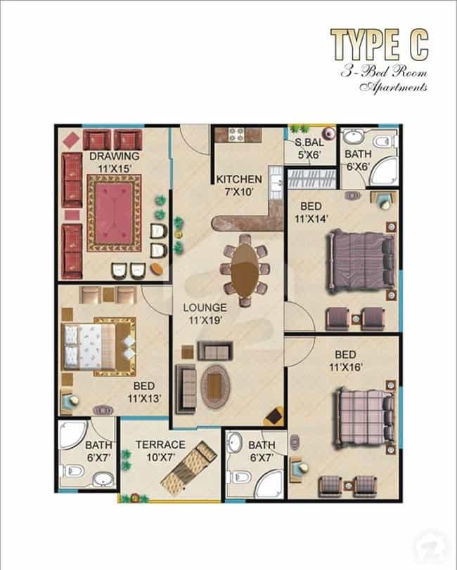 Burj ul Harmain 3 Bed C-1 Floor Plan