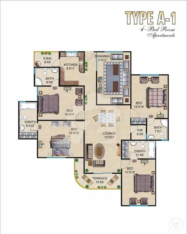 Burj ul Harmain 4 Bed A-1 Floor Plan