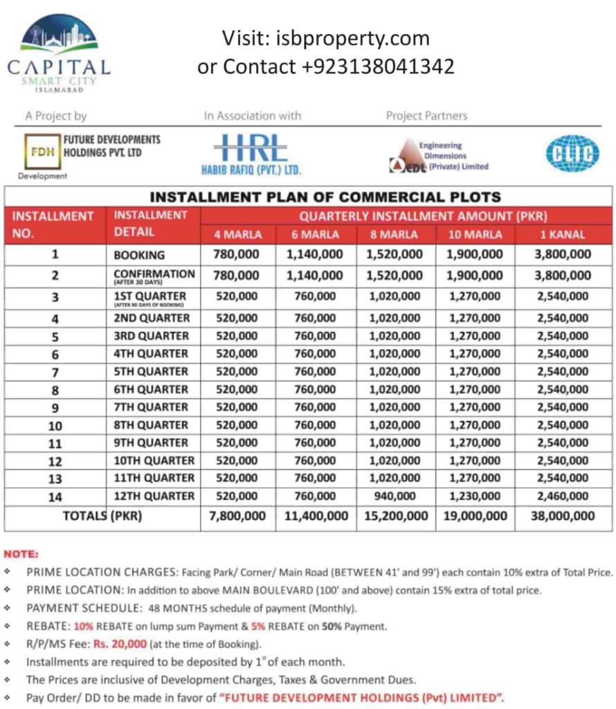 Capital Smart City Commercial Payment Plan