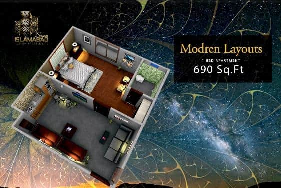Islamabad Square 1 Bed Layout