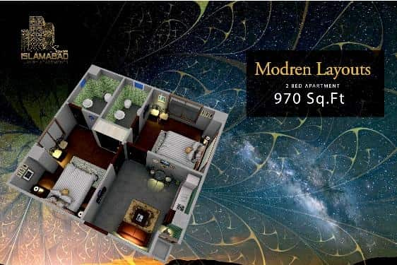 Islamabad Square 2 Bed Layout 3