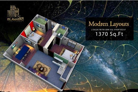 Islamabad Square 2 Bed Layout