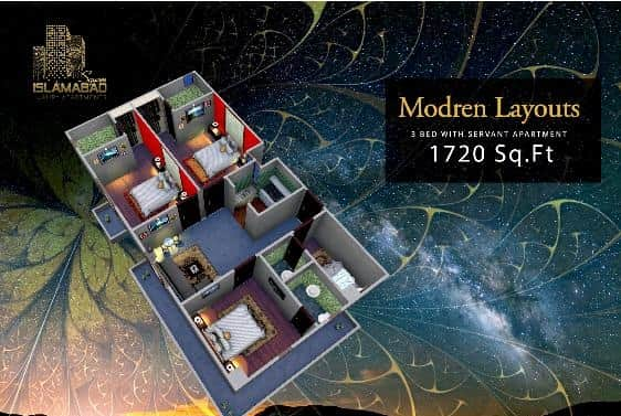 Islamabad Square 3 Bed Layout