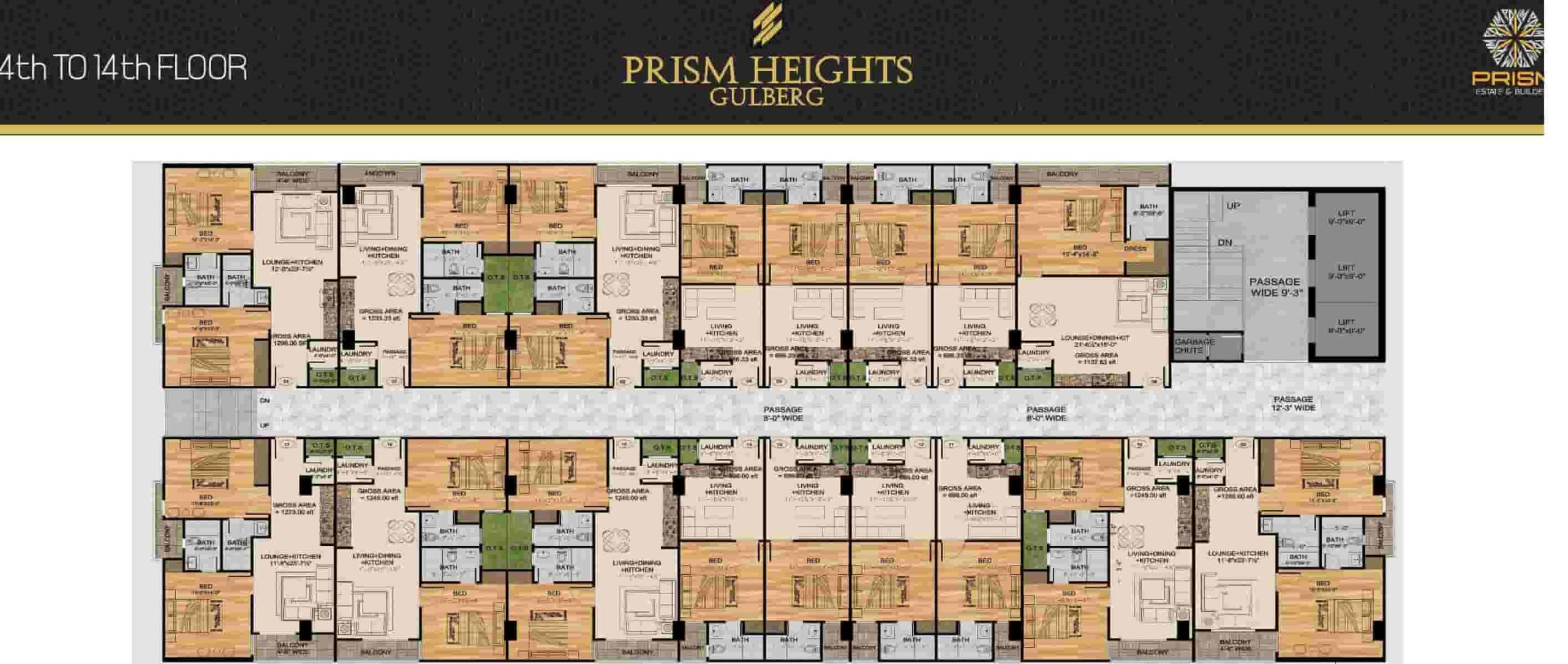 Prism Heights 4th to 14th Floor Plan