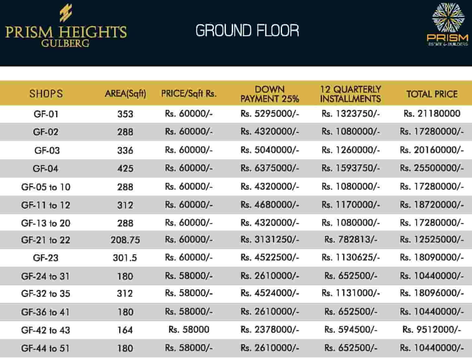 Prism Heights Ground Floor Payment Plan 1