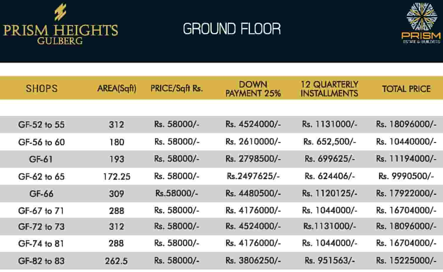 Prism Heights Ground Floor Payment Plan 2