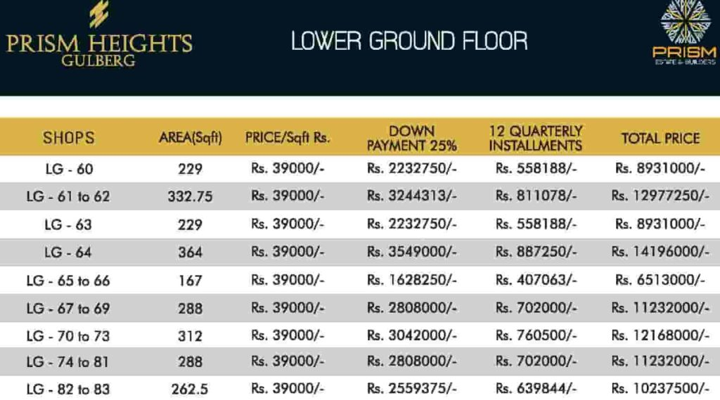 Prism Heights Lower Ground Payment Plan 2