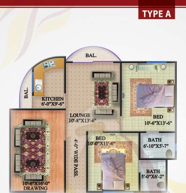 Rabia Enclave 2 Bed Type A Plan