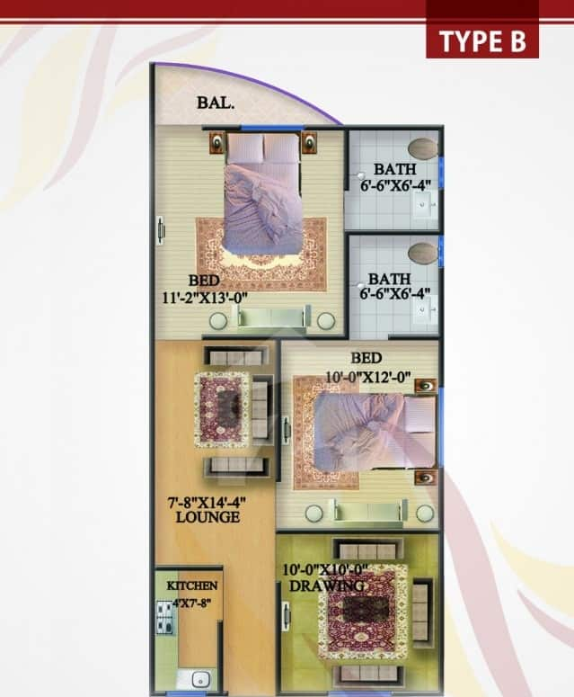 Rabia Enclave 2 Bed Type B Plan