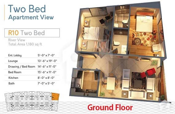 River Walk 2 Bed R-10 Layout