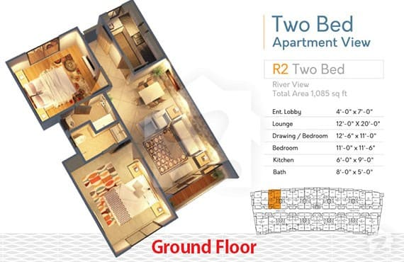 River Walk 2 Bed R-2 Layout